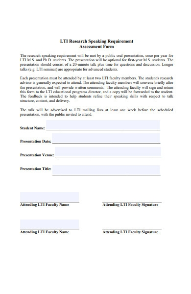 speaking requirement form