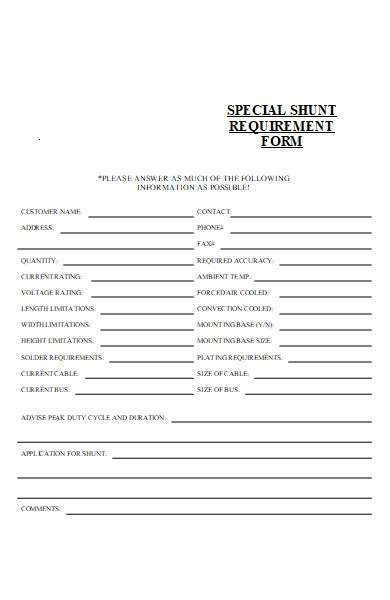 special requirement form