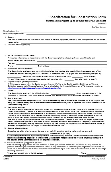 specification for construction form