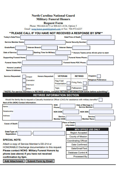 standard funeral form