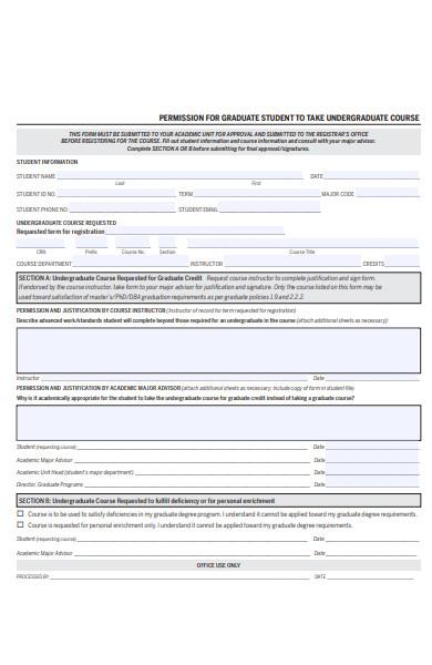 student graduate permission form