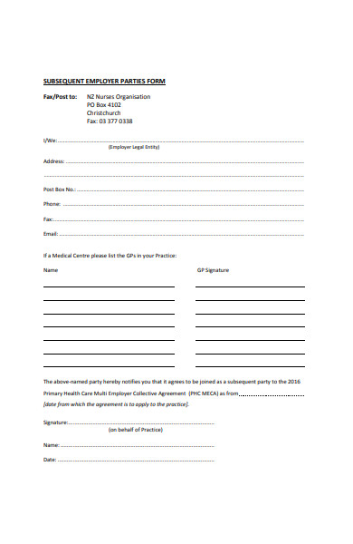 subsequent party form