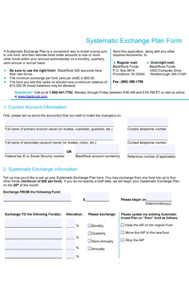 systematic exchange plan form