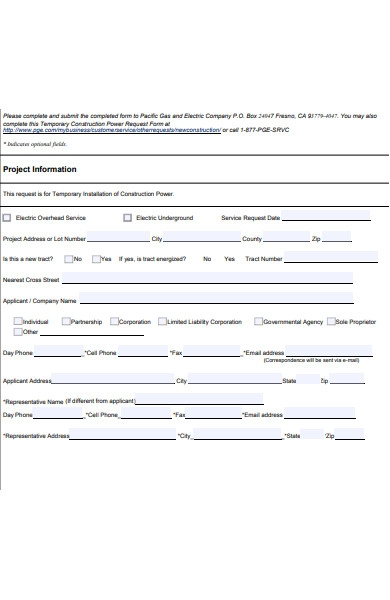 temporary construction power request form