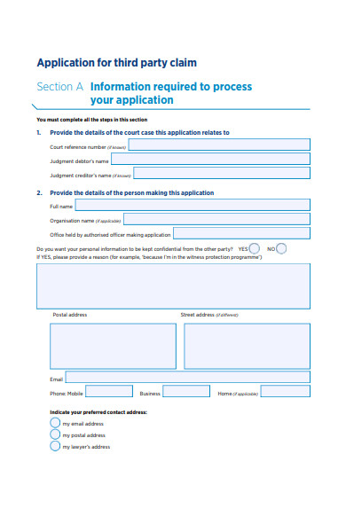third party claim form