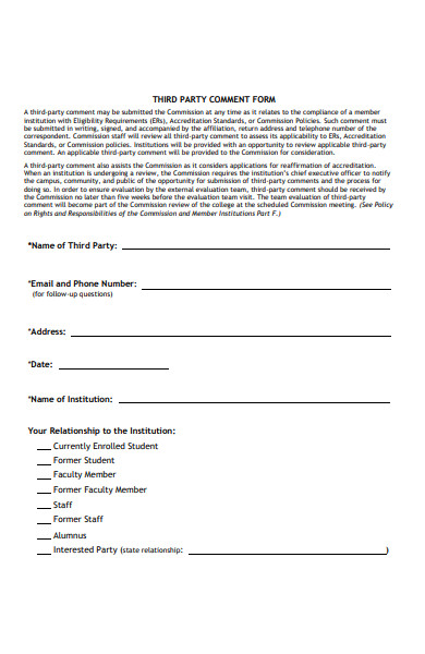third party comment form