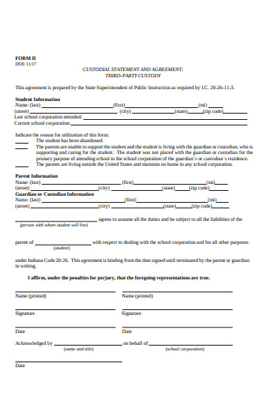 third party custody form
