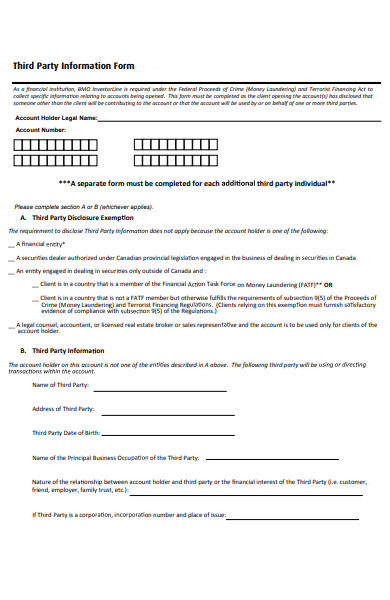 third party information form
