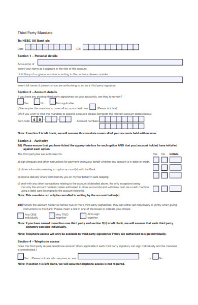third party mandate form