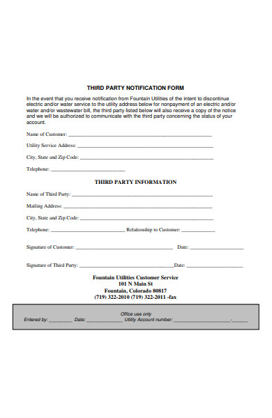 third party notification form