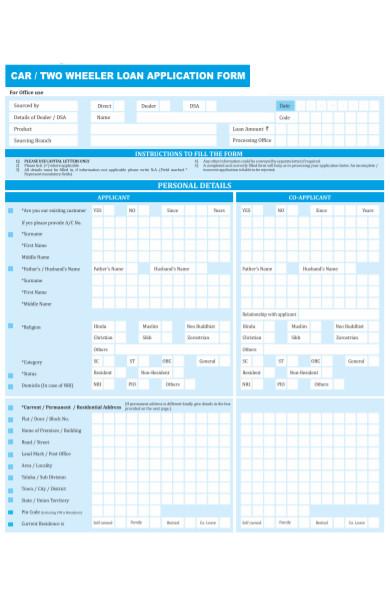 two wheeler loan application form