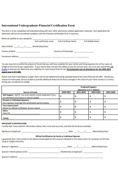 undergraduate financial certification form