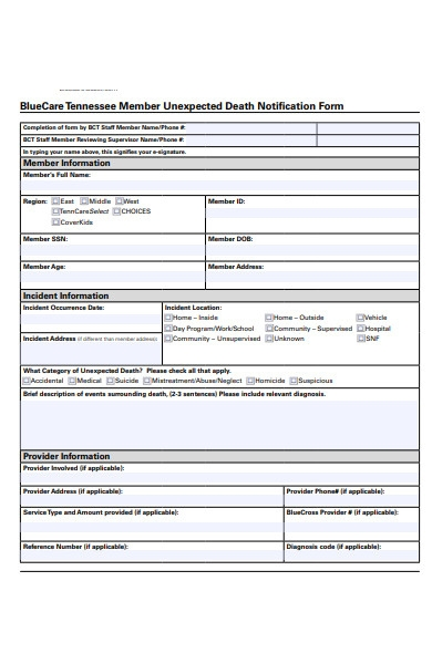 unexpected death notification form