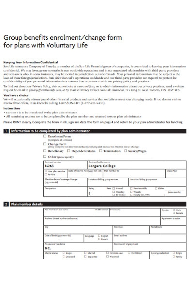voluntary plan form