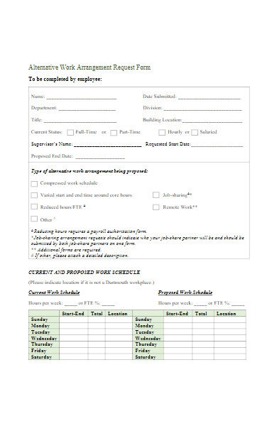 work arrangement request form