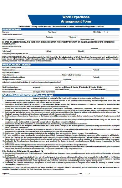 work experience arrangement form