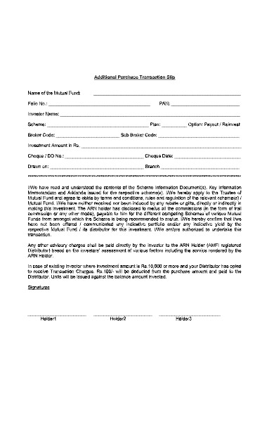 additional transaction purchase form