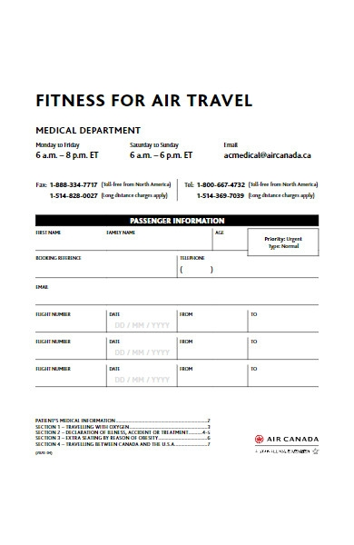 air travel fitness form