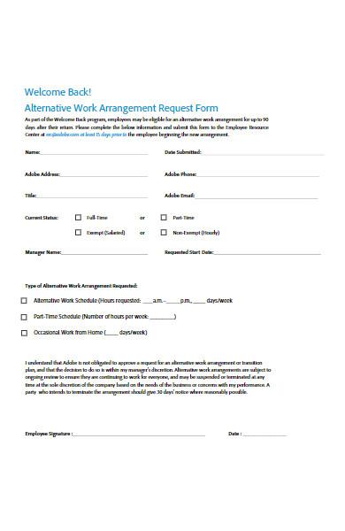 alternative work from horm arrangement request form