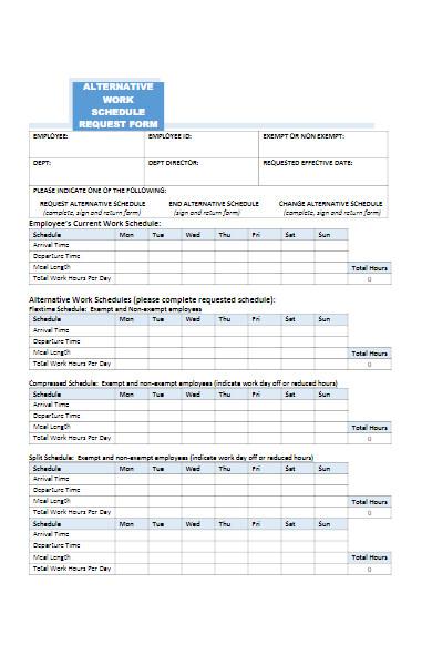 alternative work schedule request form