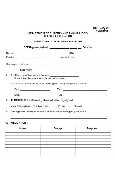annual physical examination form