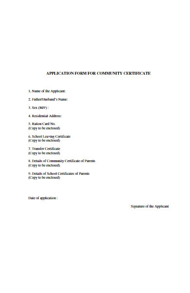 application form for community certificate