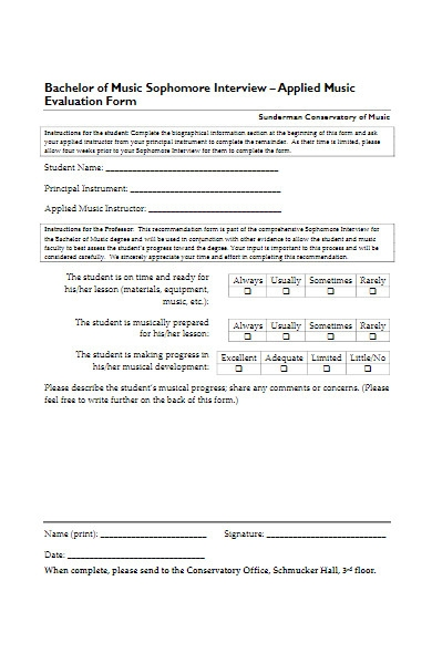 applied music evaluation form