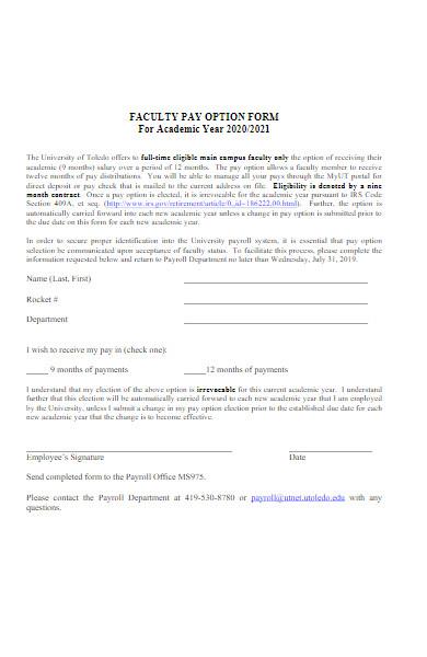 basic faculty pay option form