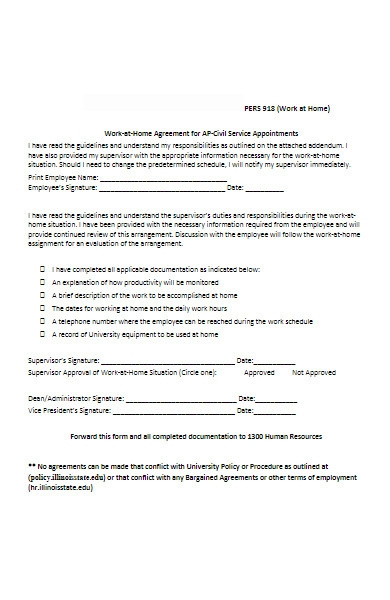 basic work at home agreement form
