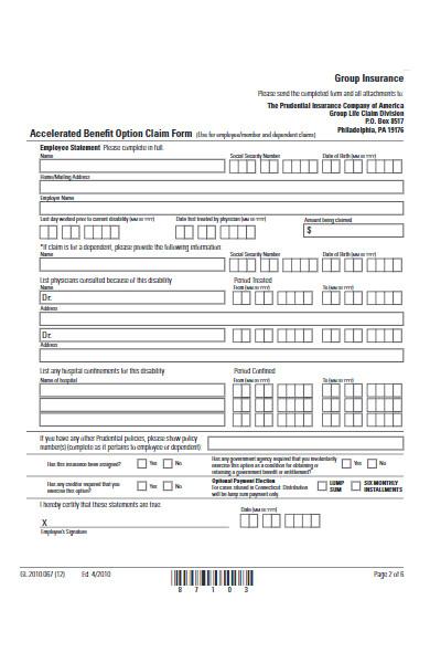 benefit option claim form