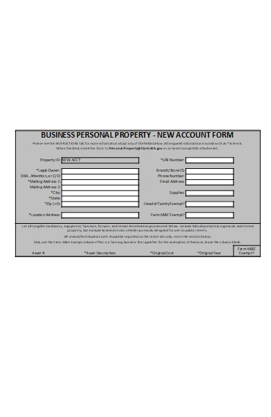 business personal property account form