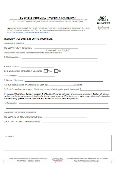 business personal property tax return form