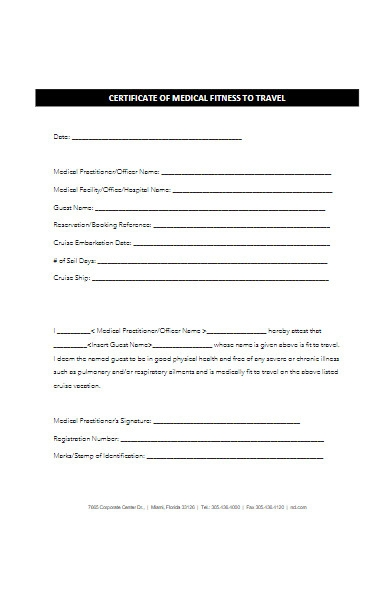 certificate form of medical fitness to travel