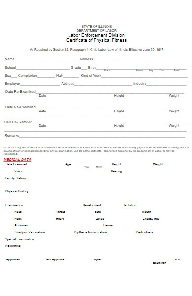 certificate form of physical fitness