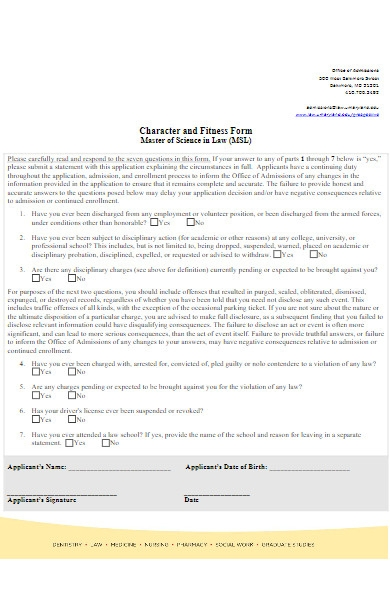 character and fitness form