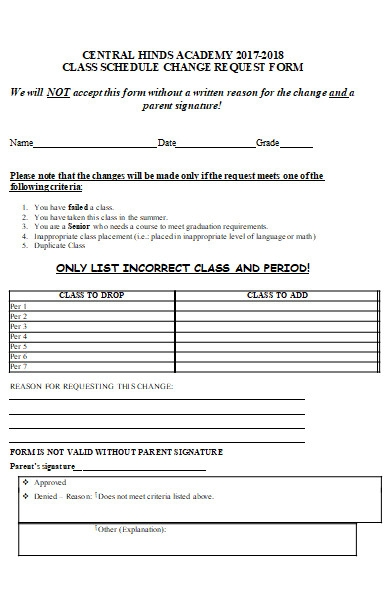 class schedule change request form