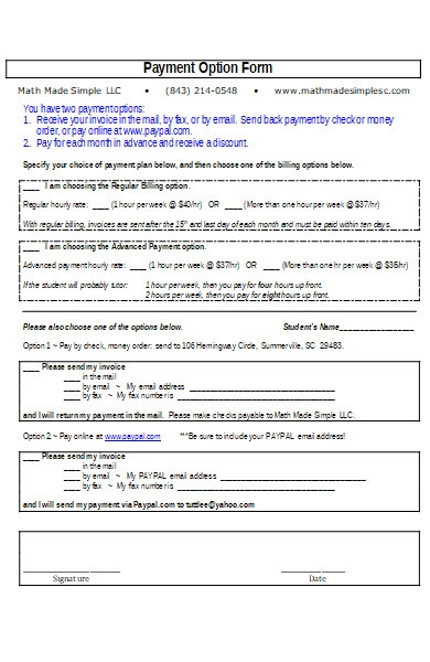 client payment option form