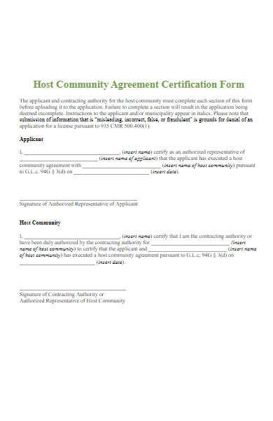 community agreement certification form