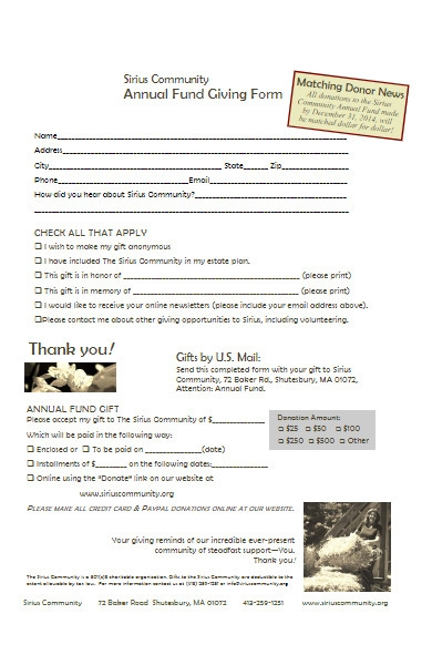community annual fund giving form