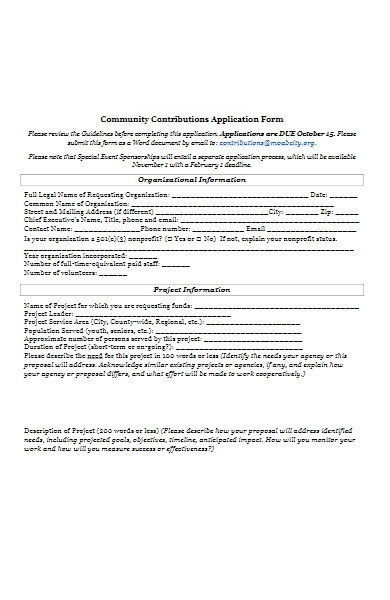 community contributions application form