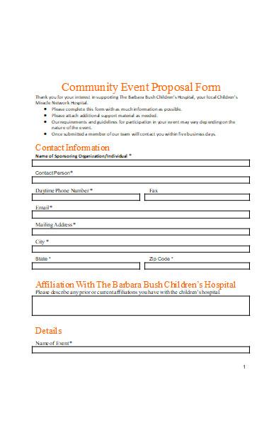 community event proposal form