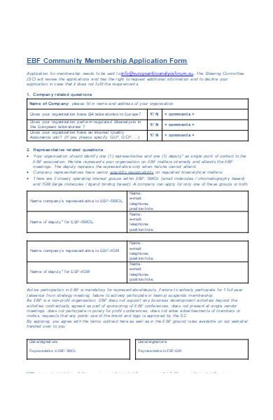 community membership application form