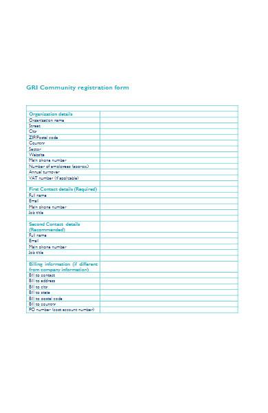 community registration form