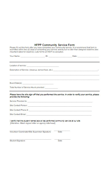community service form example