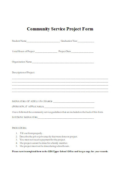 community service project form