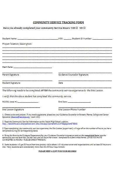 community service tracking form