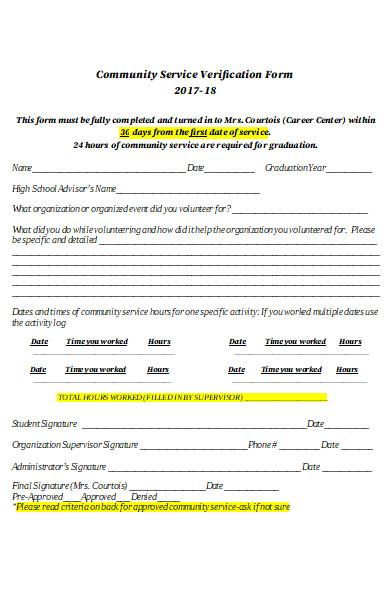 community service verification form format