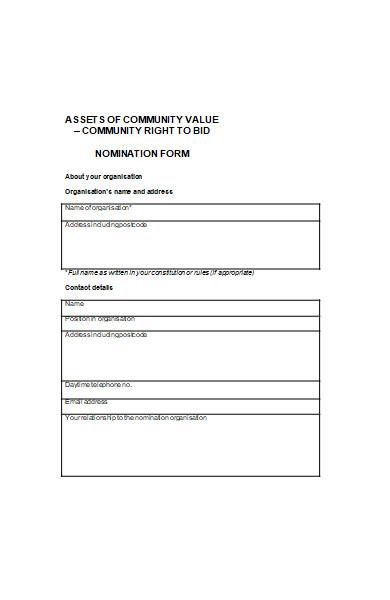 community value nomination form