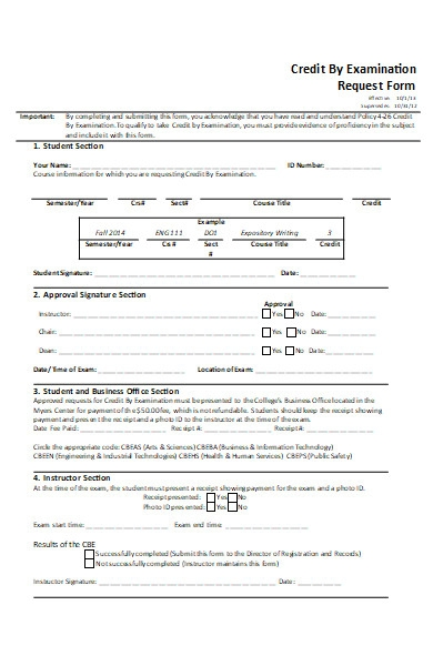 credit by examination request form