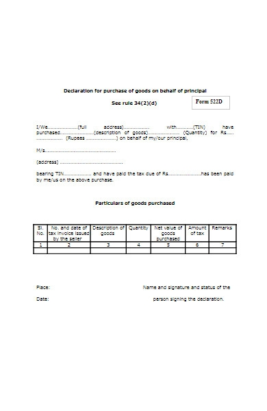 declaration form for purchase of goods